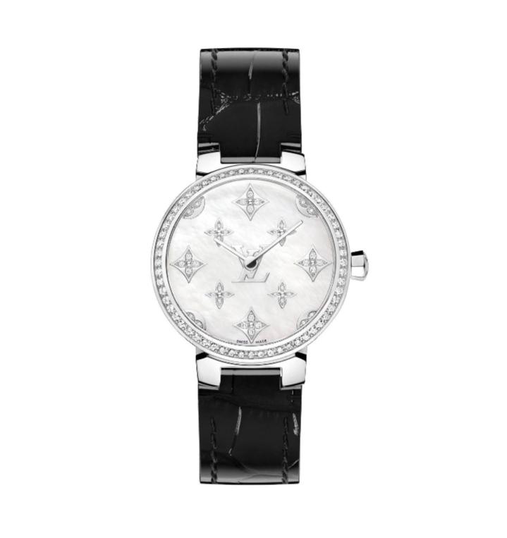 ساعة سوداء من الجلد مُرصَّعة بالألماس من لويس فويتون «Louis Vuitton»