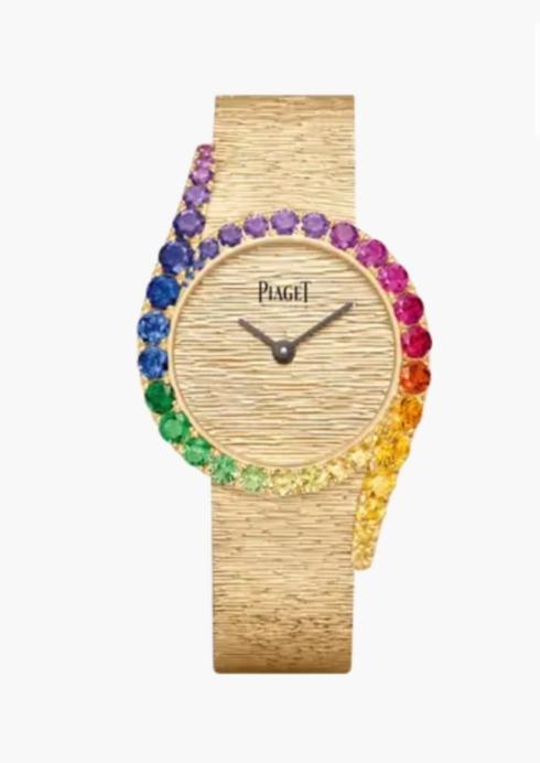 ساعة من الذهب الوردي والأحجار الكريمة بألوان قوس قزح من ماركة بياجيه Piaget