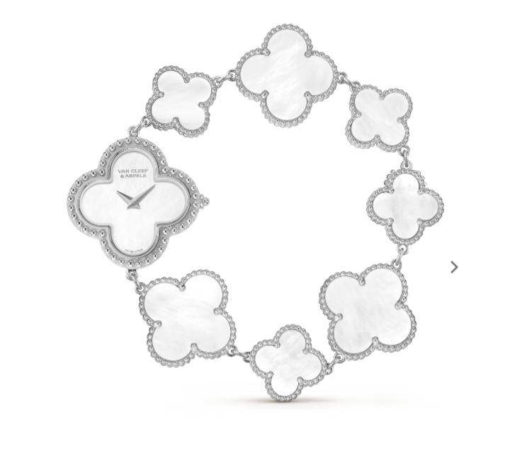 ساعة يد Alhambra بيضاء من دار فان كليف أند آربلز «Van Cleef & Arpels»