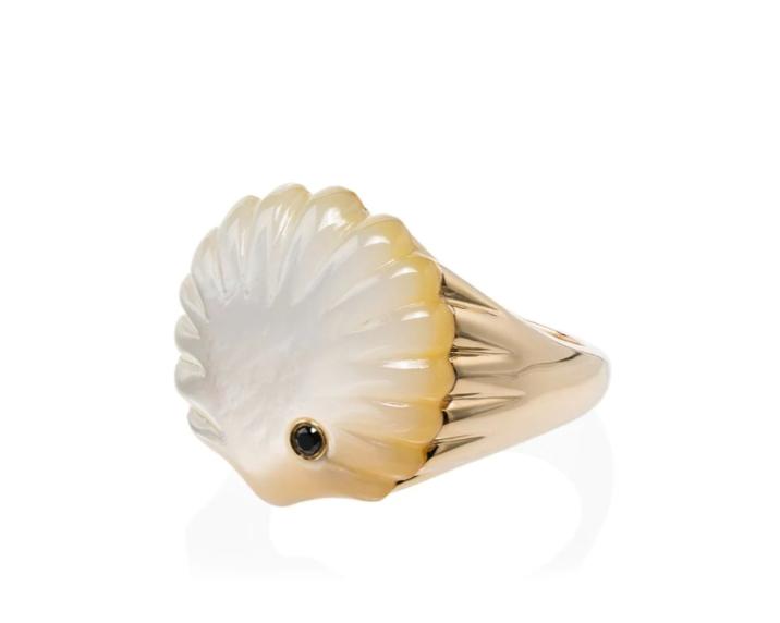 خاتم ذهب لؤلؤة من علامة Yvonne Léon