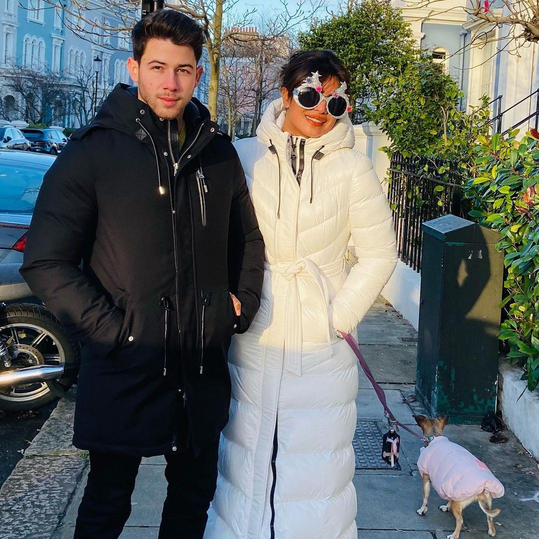 بريانكا وزوجها المغني الأمريكي نيك جوناس في لندن-الصورة من أنستغرام