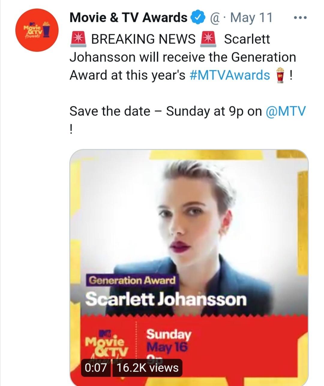 إعلان فوز سكارليت جوهانسون بجائزة نجمة الجيل- الصورة من حساب MTV على تويتر