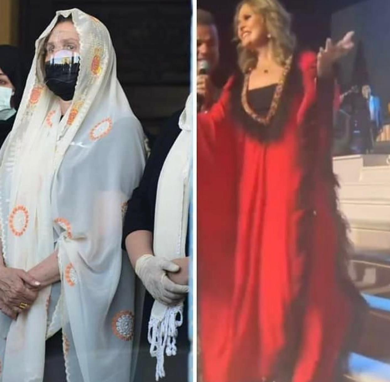 صورتان ليسرا في نفس اليوم تحزن صباحاً في جنازة سمير غانم وبالليل ترقص في حفل زفاف مع عمرو دياب