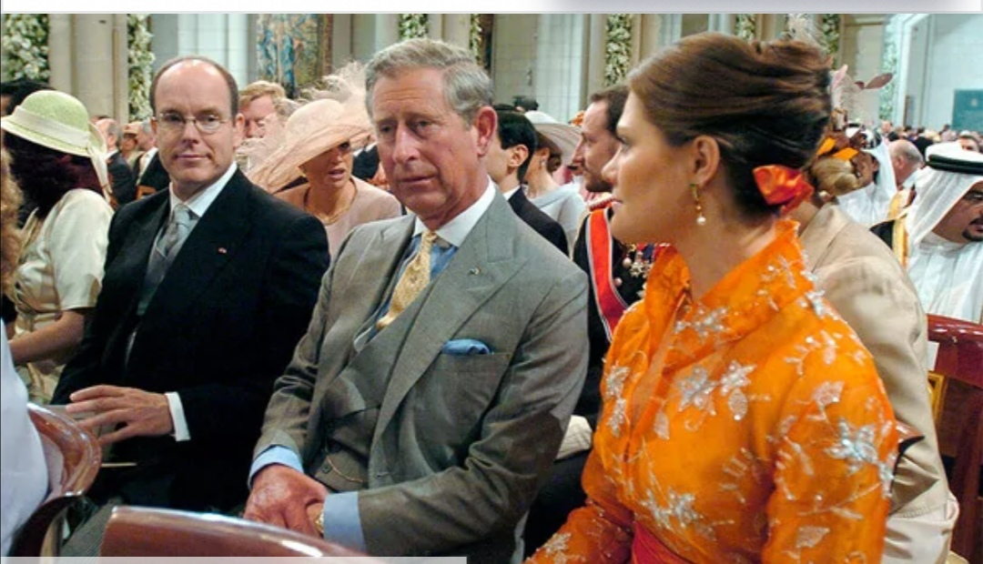 ولية عهد السويد الأميرة فيكتوريا مع الملك السويدى والأمير تشارلز والأمير ألبرت أمير موناكو-الصورة من موقع hello magazine