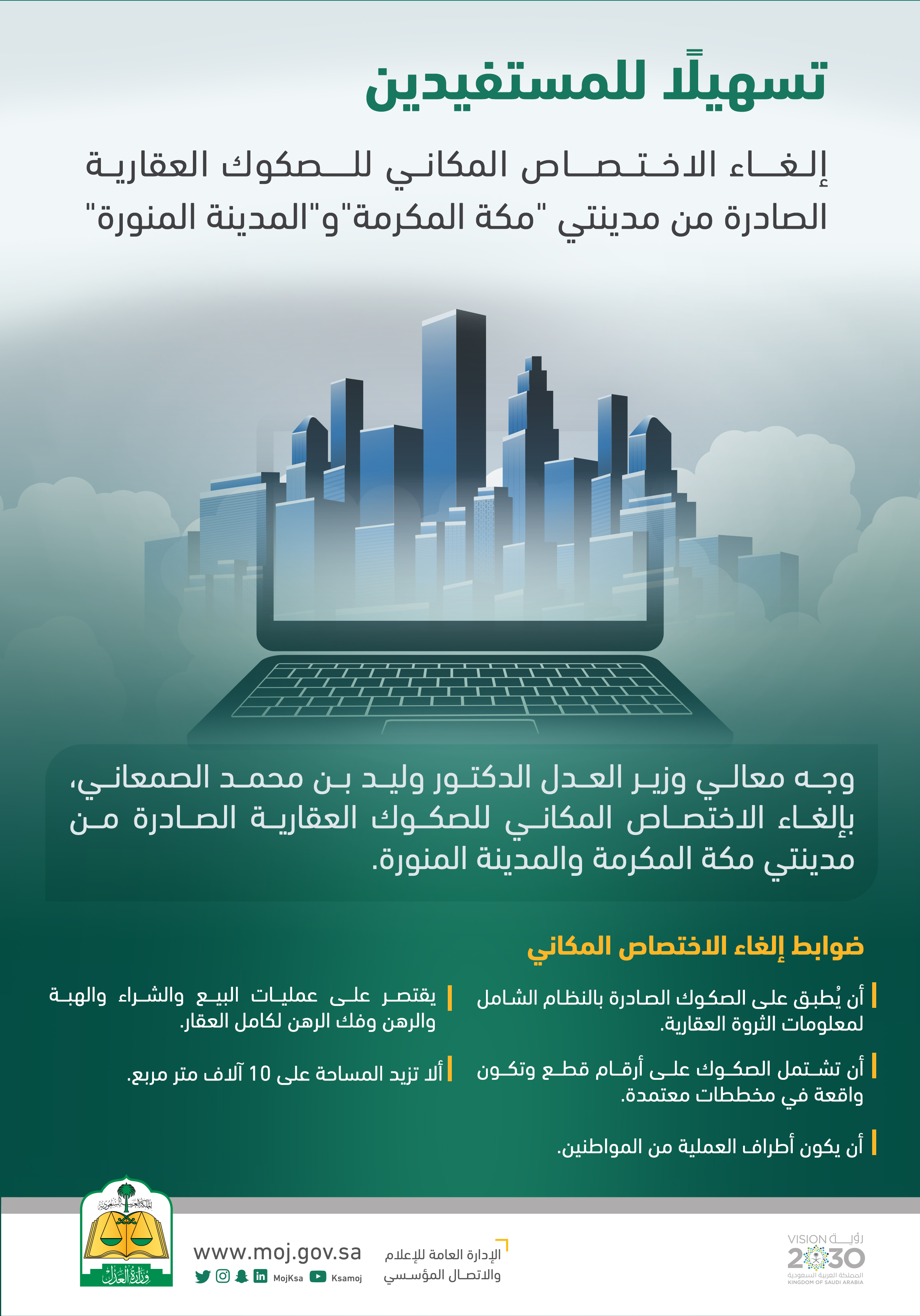 وزير العدل يوجه بإلغاء الاختصاص المكاني للصكوك العقارية الصادرة من مدينتي مكة المكرمة والمدينة المنورة