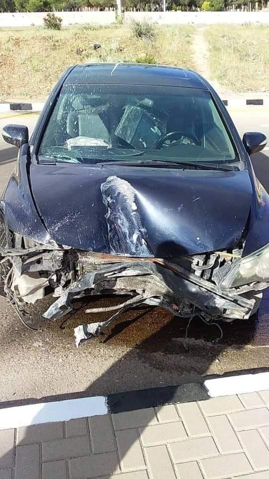 سيارة وائل رمضان بعد تعرضه لحادث