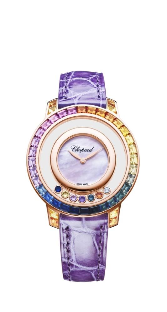 ساعة جلد Happy Diamonds من شوبارد Chopard