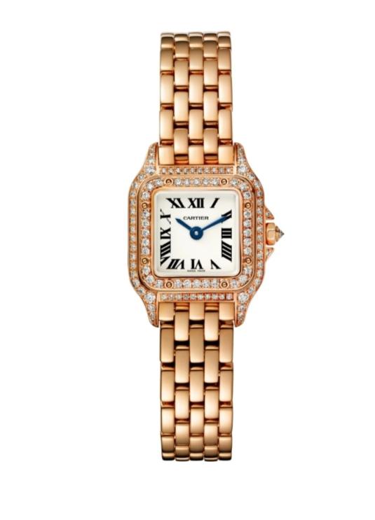 ساعة من الذهب الوردي مُرصّعة بالألماس من كارتييه Cartier
