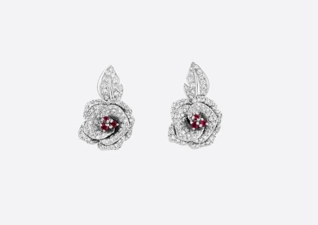 أقراط ماسية والياقوت من ديور «Dior»