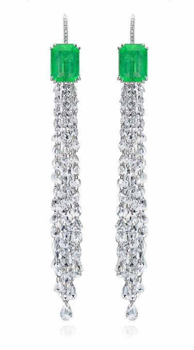 أقراط من الماس والزمرد من نينا رانسدورف Nina Runsdorf