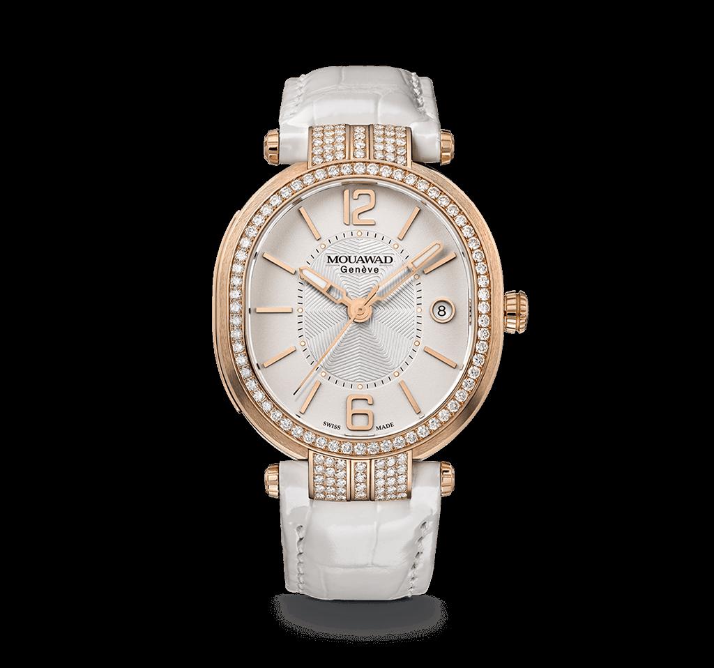ساعة بيضاء مرصعة بالألماس من دار معوض Mouawad