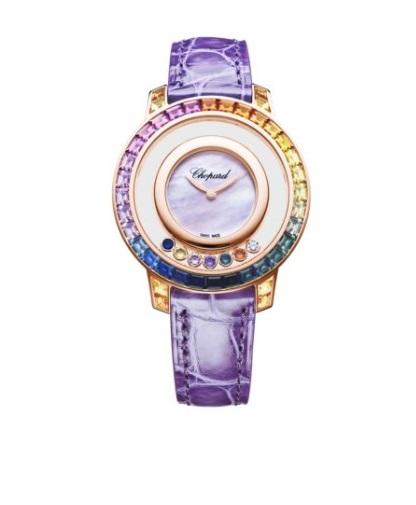 ساعة ملونة مرصعة بالأحجار الكريمة من شوبارد Chopard