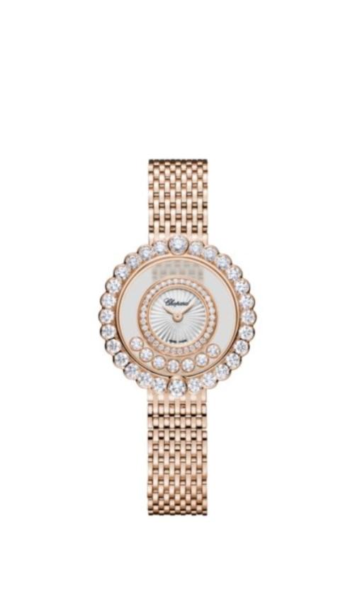 ساعة من الذهب الوردي مرصعة بالألماس من دار شوبارد Chopard