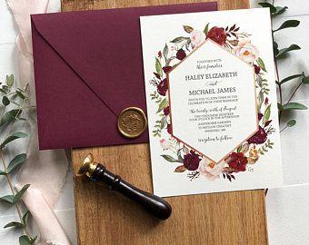 دعوات زفاف باللون البرغندي