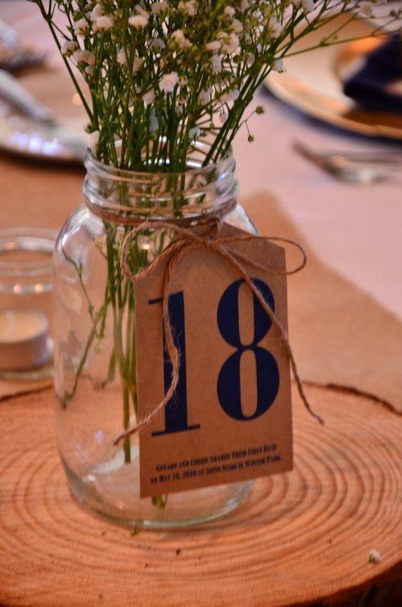 ترقيم الطاولات في حفل الزفاف باستخدام البرطمانات الزجاجية