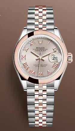 ساعة روليكس باللون الزهري مع الفضي